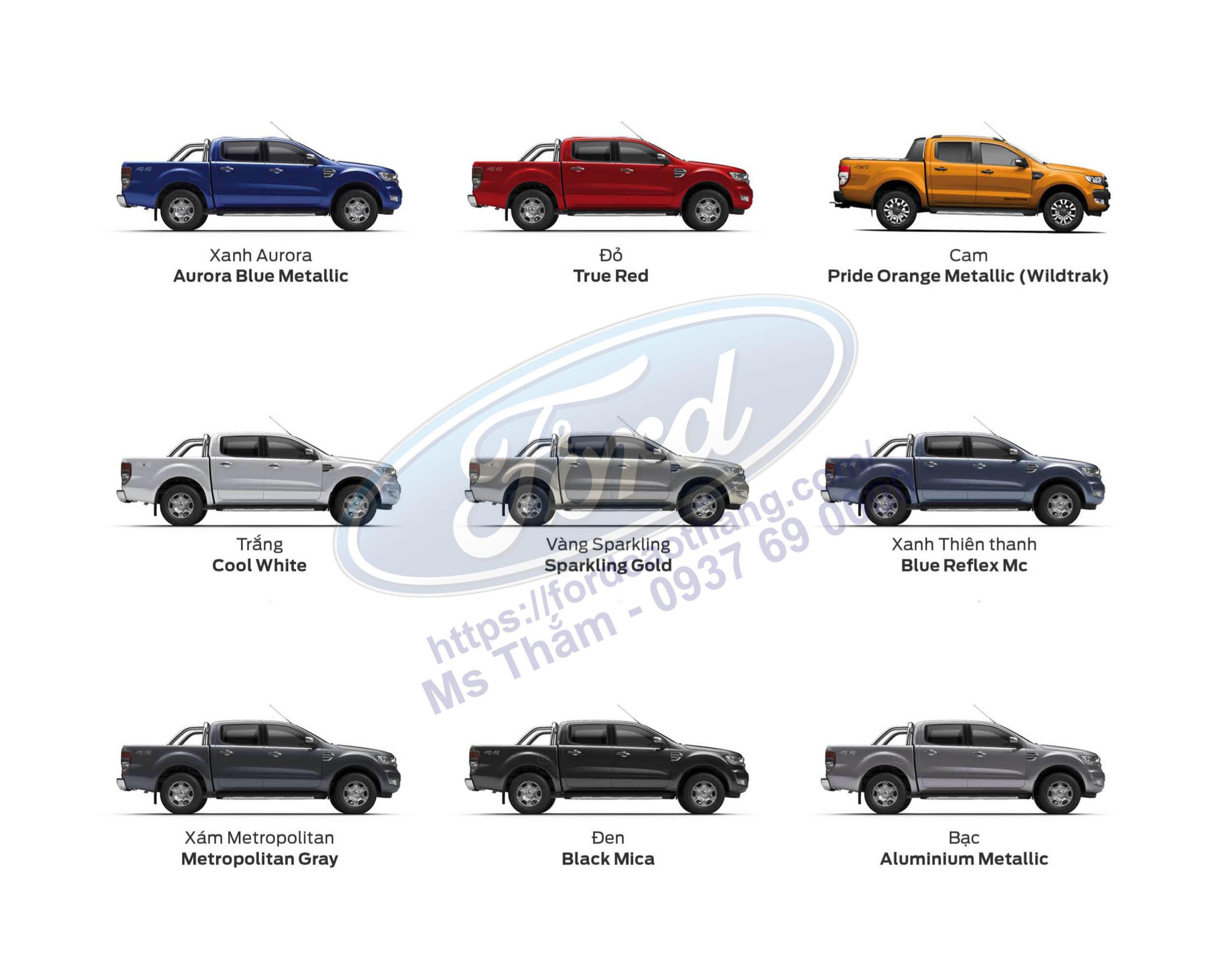 Bảng màu xe Ford Ranger 2019
