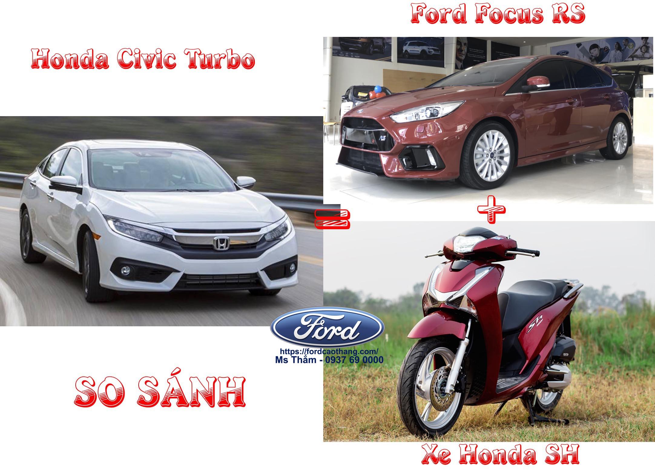 So sánh Ford Focus RS và Honda Civic Turbo về giá xe