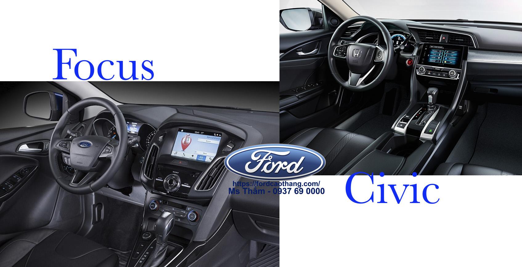 So sánh nội thất Ford Focus Rs và Honda Civic Turbo